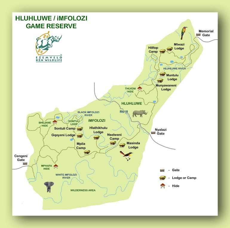 hluhluwe umfolozi game reserve map