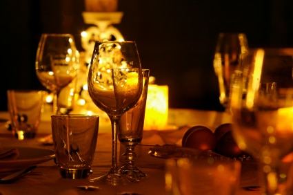 candlelit dining room table