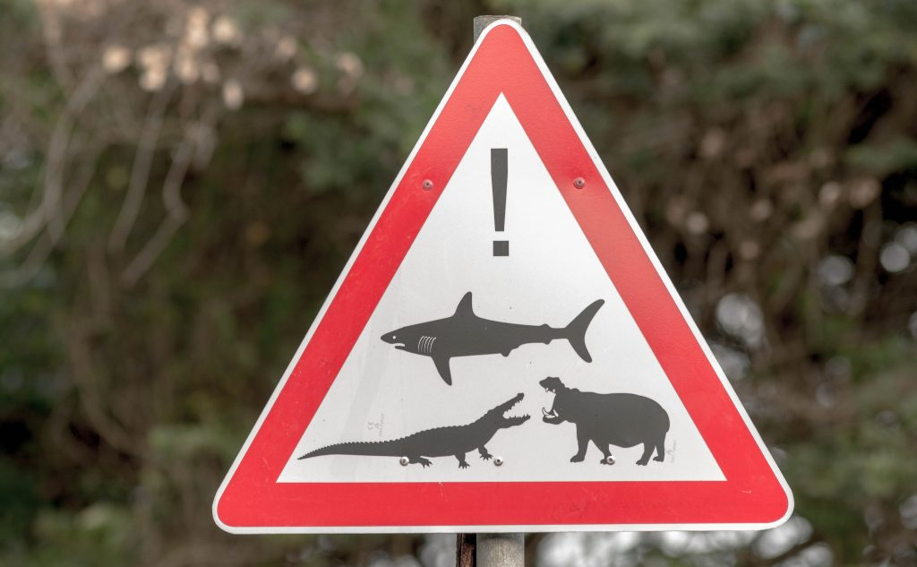 hippo shark crocodile warning sign