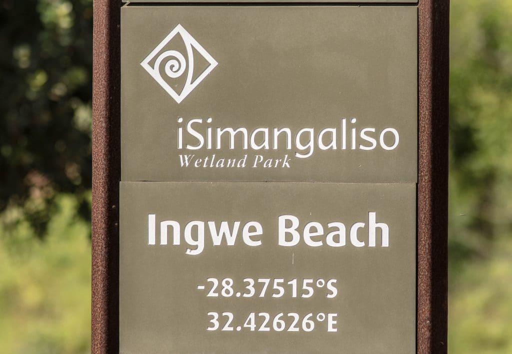 ingwe beach sign