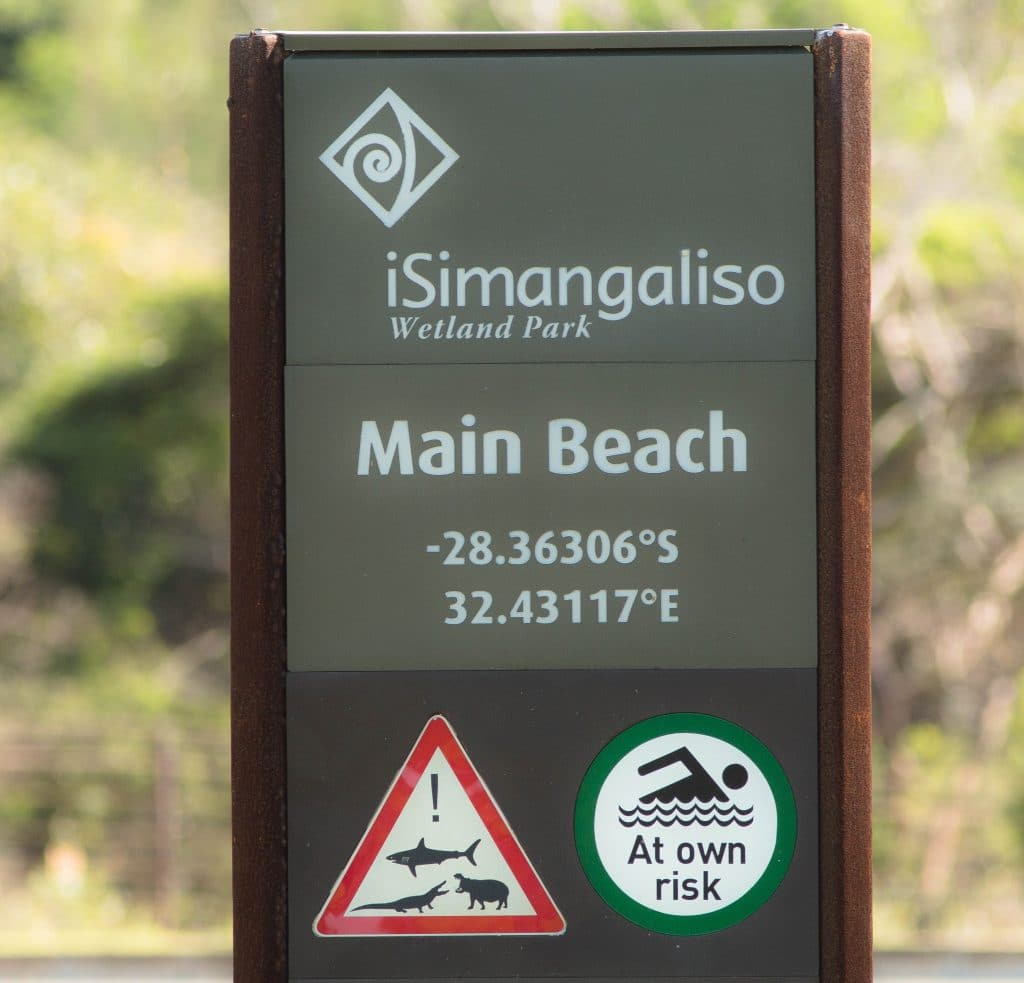 main beach sign isimangaliso wetland park