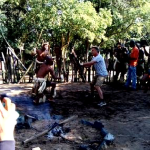 clients learning zulu dancing and fighting